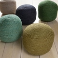 Jute Solid-Colored 22-inch Pouf