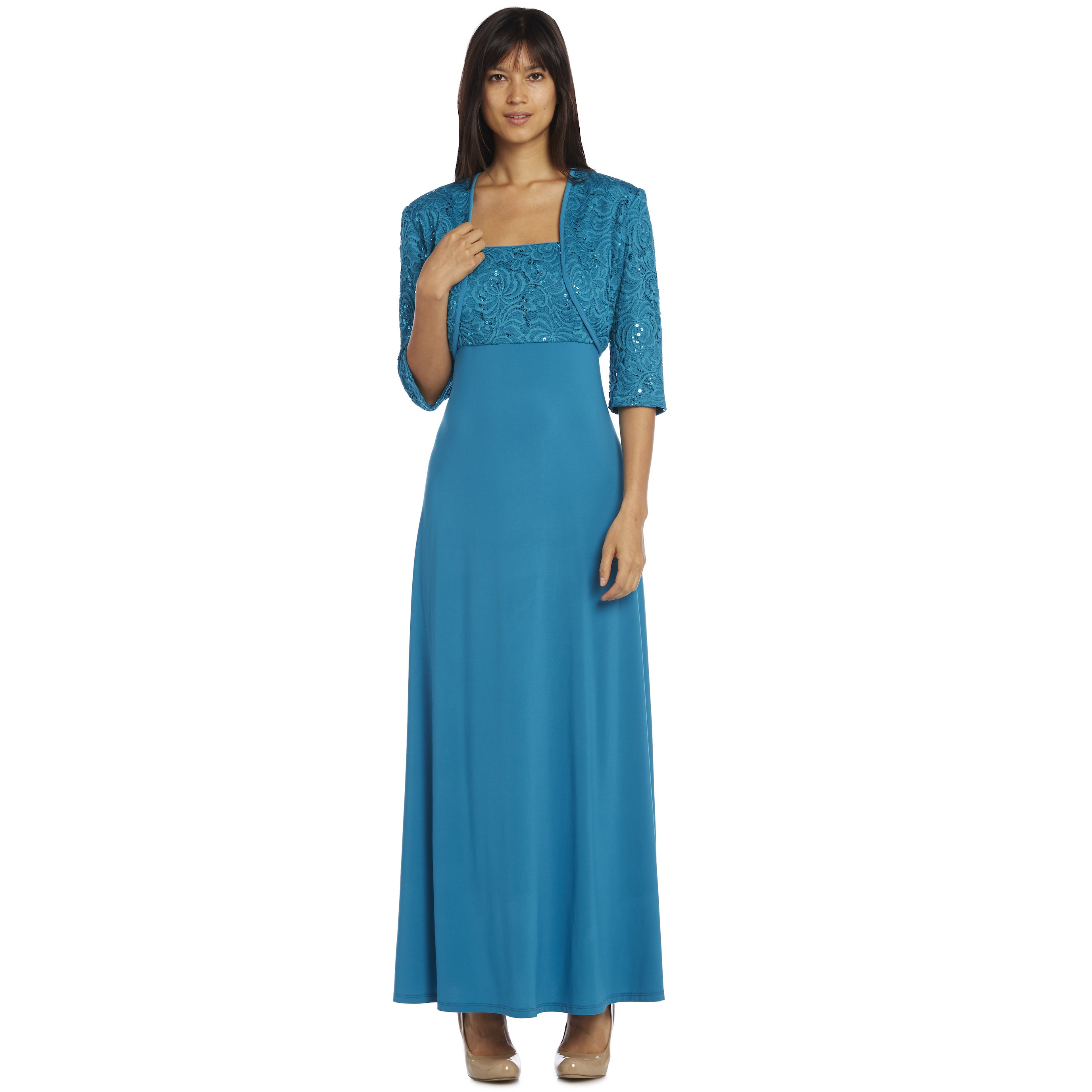 R&M Richards Teal Long Lace Jacket Dress