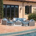Corvus Martinka 9-piece Grey and Blue Wicker Outdoor Sectional Furniture Set
