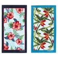Seaside Hibiscus Navy/Tropical Swim Aqua 2-piece Beach Towel Set
