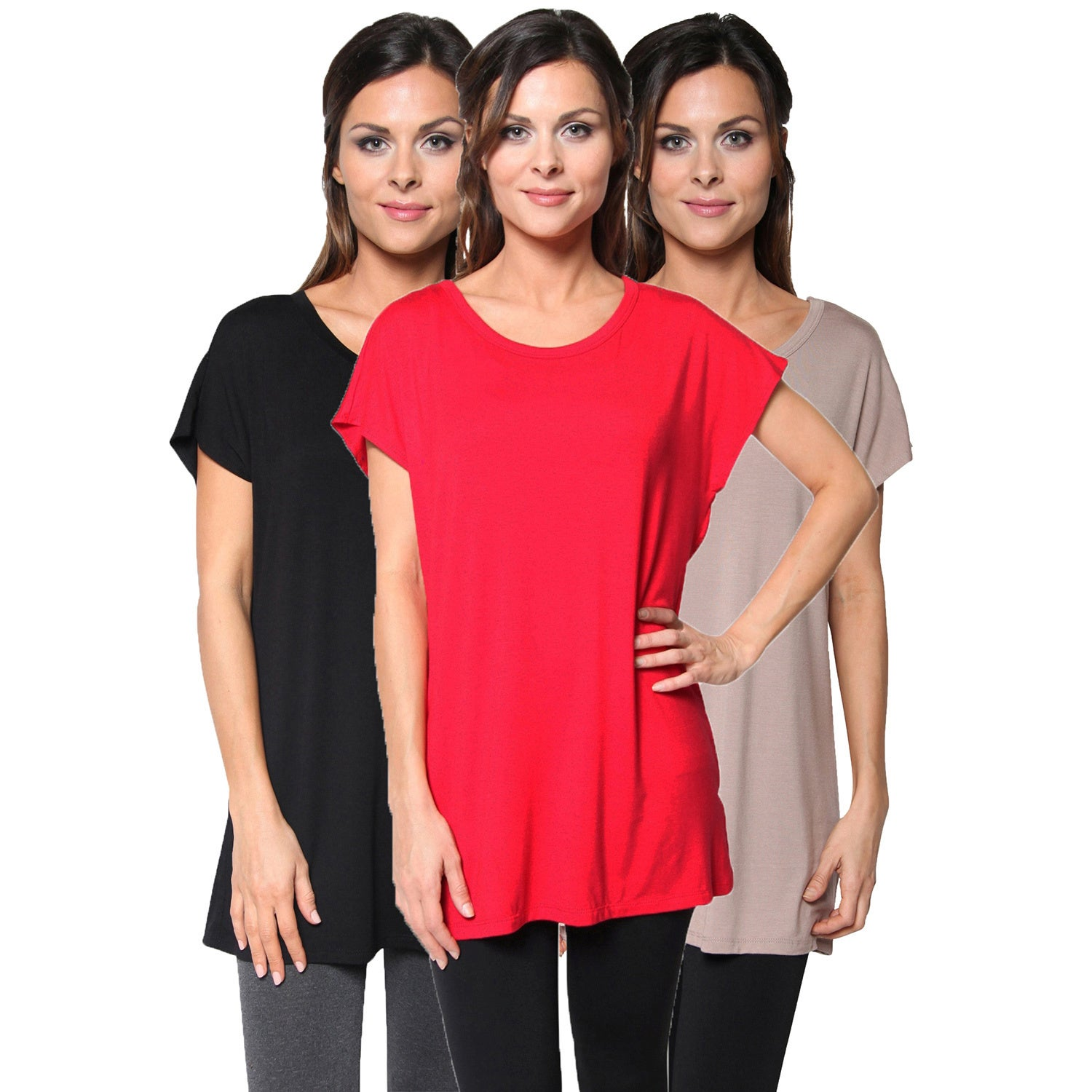 Pack of 3: Free to Live Women's Extra Long Kimono Sleeve Tunic