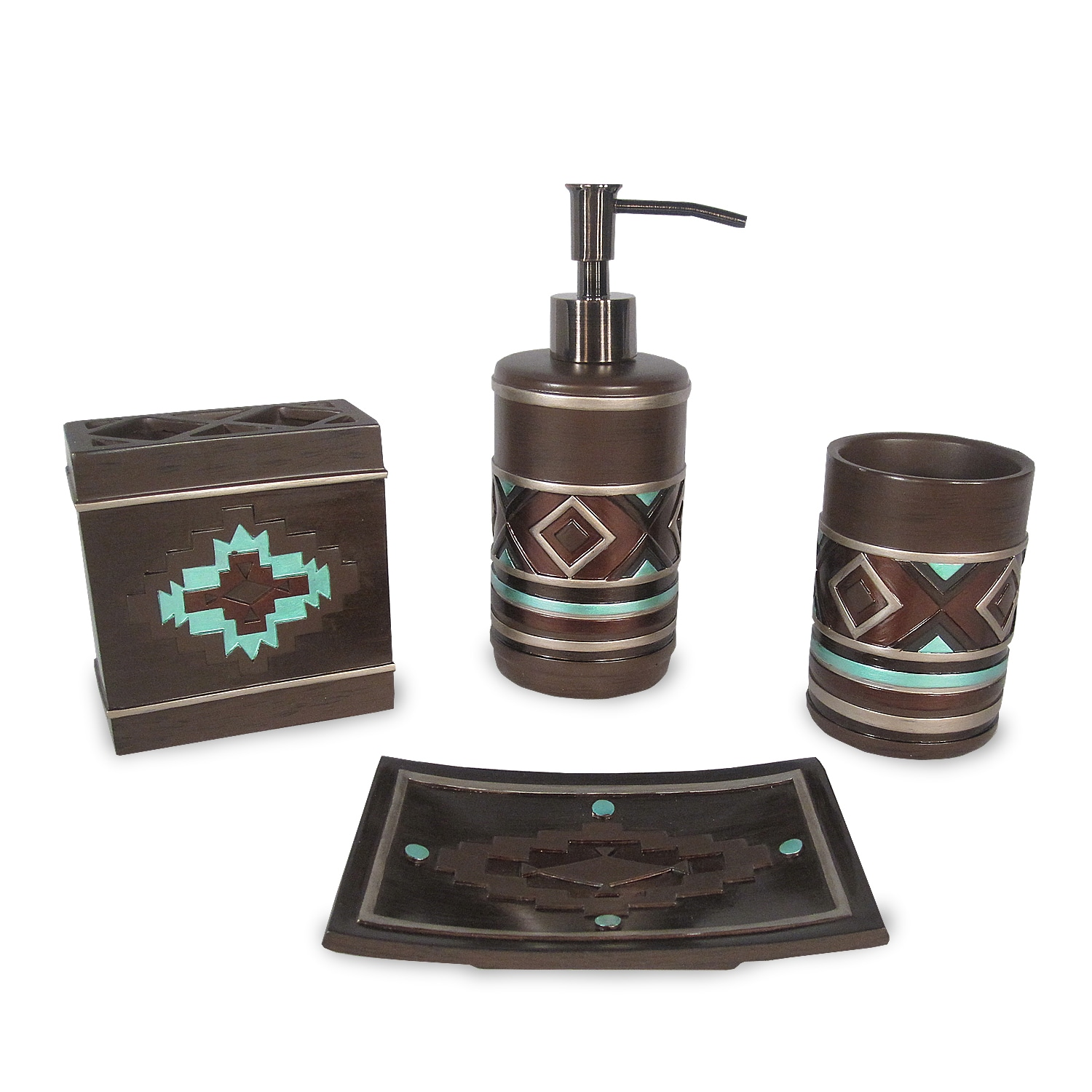 Veratex Pueblo Southwestern Bath Accessory 4-piece Set - Free ...