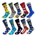 Men's Groomsman Novelty Cotton Art Patterned Casual Crew Socks (10 PAIRs) Size 10 - 13