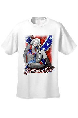 Men's Rebel Flag T-Shirt Skull Confederate Southern Dixie Redneck Old Glory  Tee