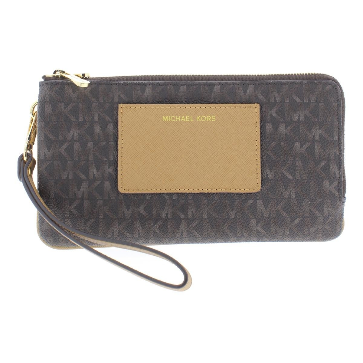 974f1844676b Shop MICHAEL Michael Kors Womens Bedford Wristlet Wallet Faux Leather Pouch  - LARGE - Free Shipping Today - Overstock - 25683358