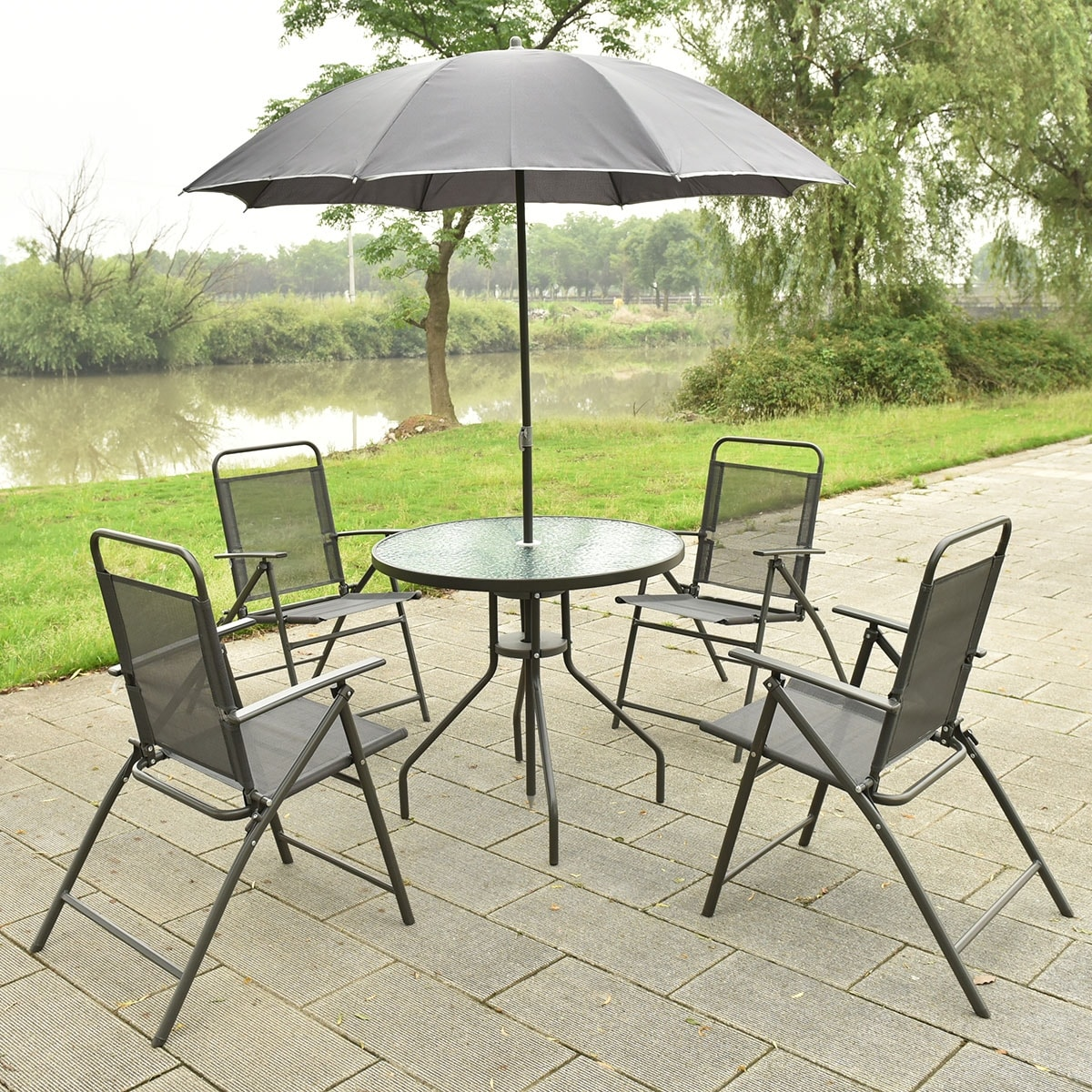 Costway 6 PCS Patio Garden Set Furniture Umbrella Gray with 4 Folding Chairs Table - Free Shipping Today - Overstock - 23192854 & Costway 6 PCS Patio Garden Set Furniture Umbrella Gray with 4 ...