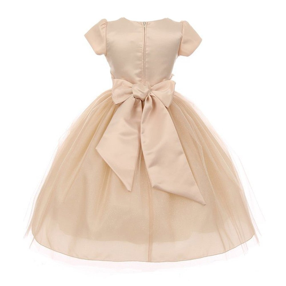 8b57d9720947 Shop Kiki Kids Girls Champagne Glitter Tulle Back Bow Christmas Dress -  Free Shipping Today - Overstock - 18506774