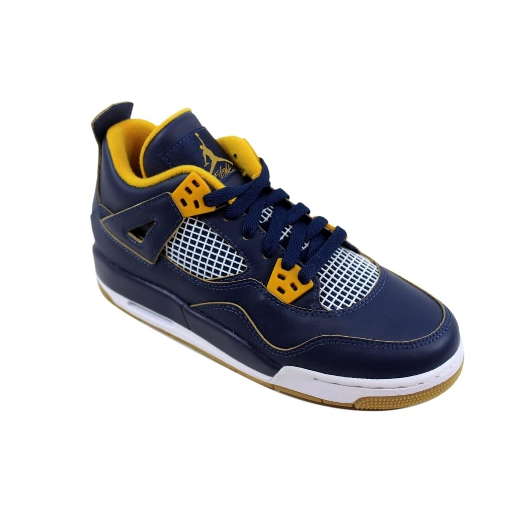 new concept 33043 3bf82 Shop Nike Air Jordan IV 4 Retro BG Midnight Navy Metallic Gold String-Gold  Leaf-White Dunk From Above 408452-425 Grade-School - Free Shipping Today ...