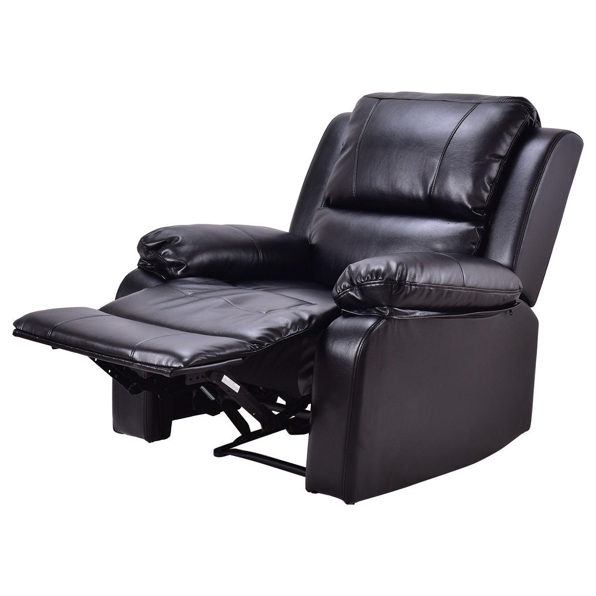 Costway Manual Recliner Sofa Lounge Chair Pu Leather Home Theater Padded Reclining Black Free Shipping Today 18770717
