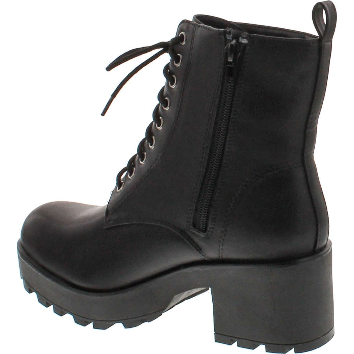 5ad6c7b7060 Shop Soda Women s Magpie Faux Leather Lace-Up Combat Mid Heel Military  Ankle Boots - Black - Free Shipping On Orders Over  45 - Overstock -  14948208