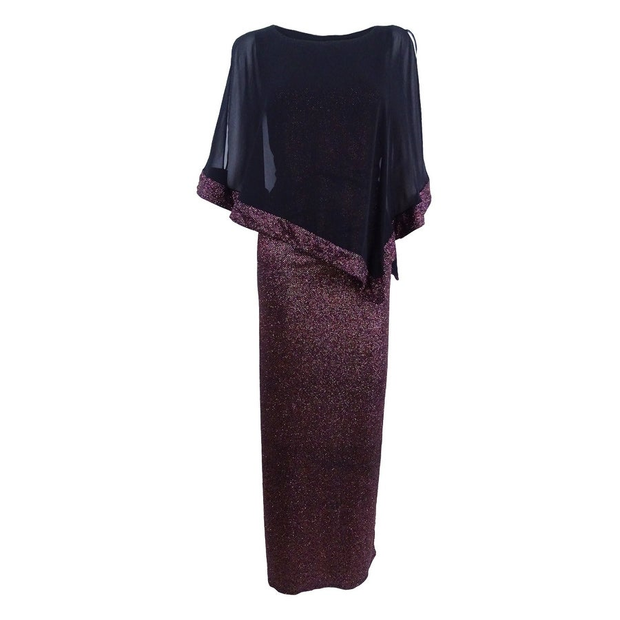 Shop Msk Women\'s Metallic Chiffon-Overlay Column Gown - Pink/black ...
