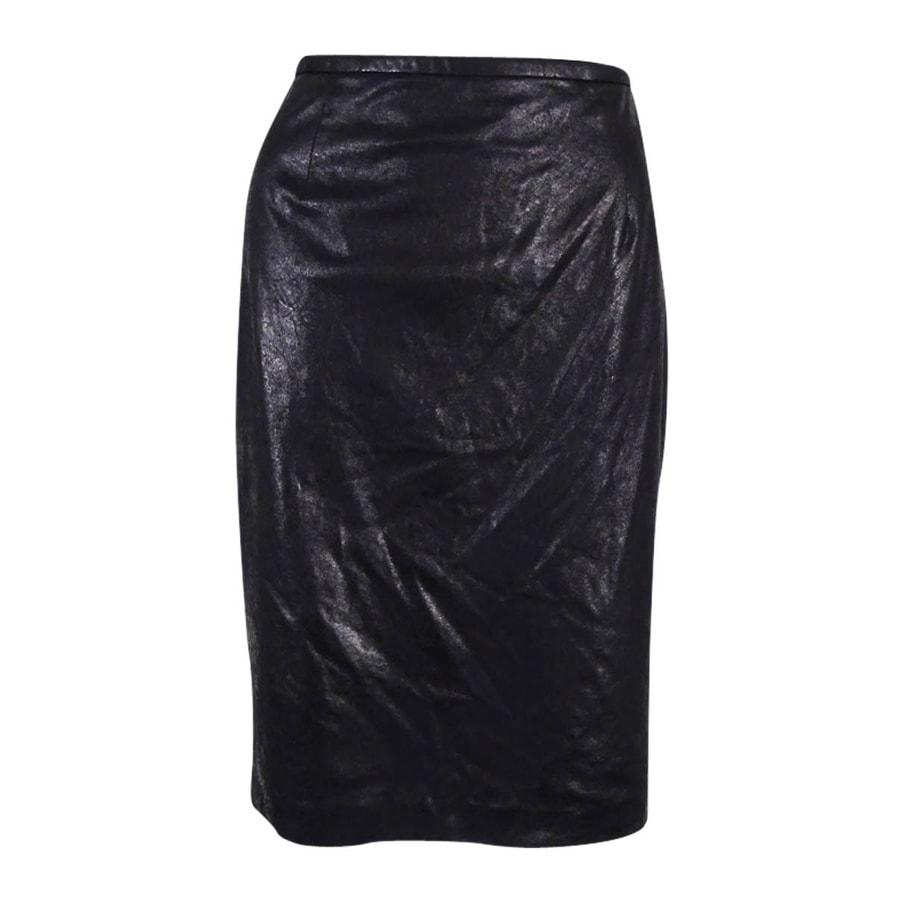 f933e791a0 Shop Calvin Klein Women's Distressed Faux-Leather Pencil Skirt - Black -  Free Shipping On Orders Over $45 - Overstock - 17778140