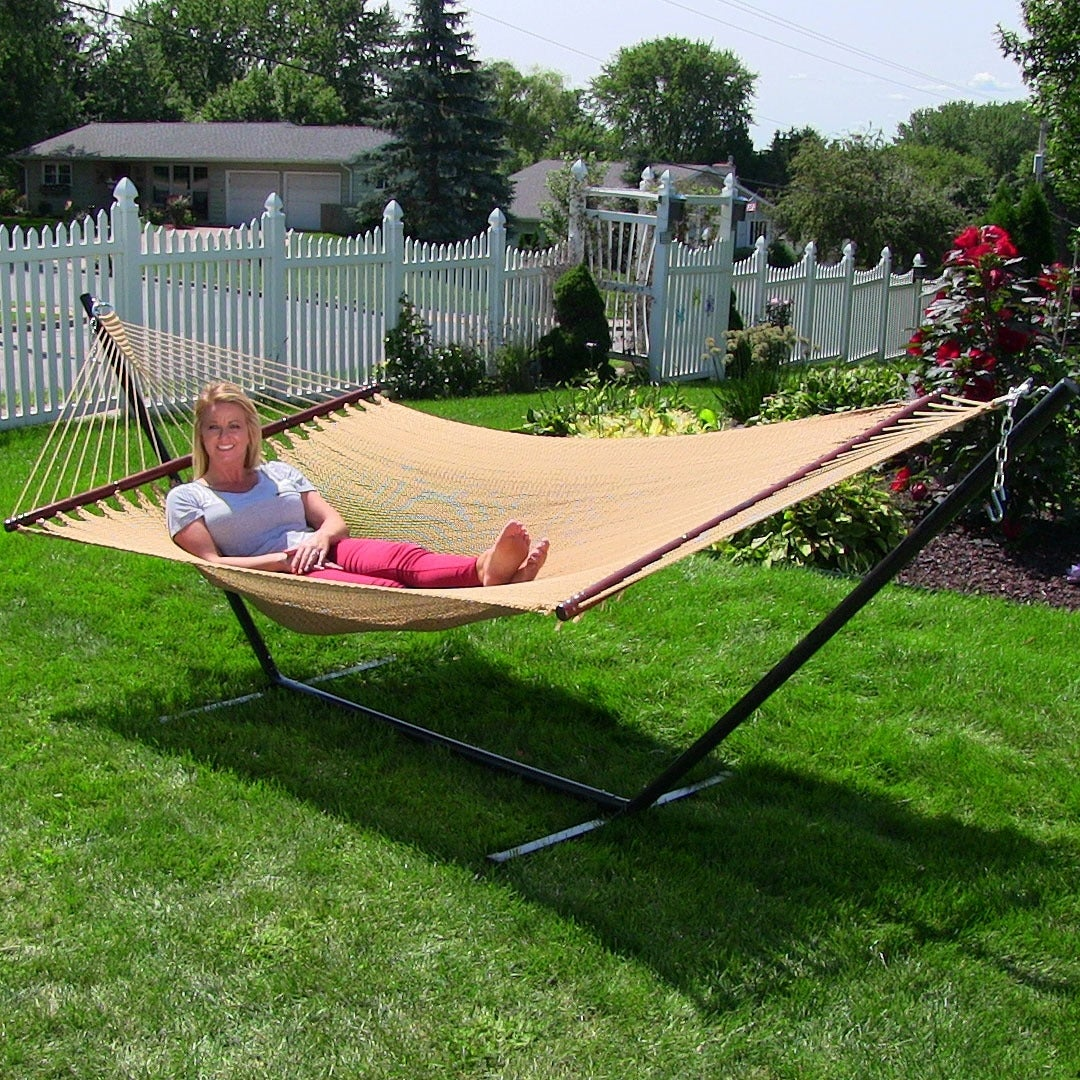 Sunnydaze Large 2 Person Rope Hammock With Spreader Bar Stand Free Shipping Today 12733732