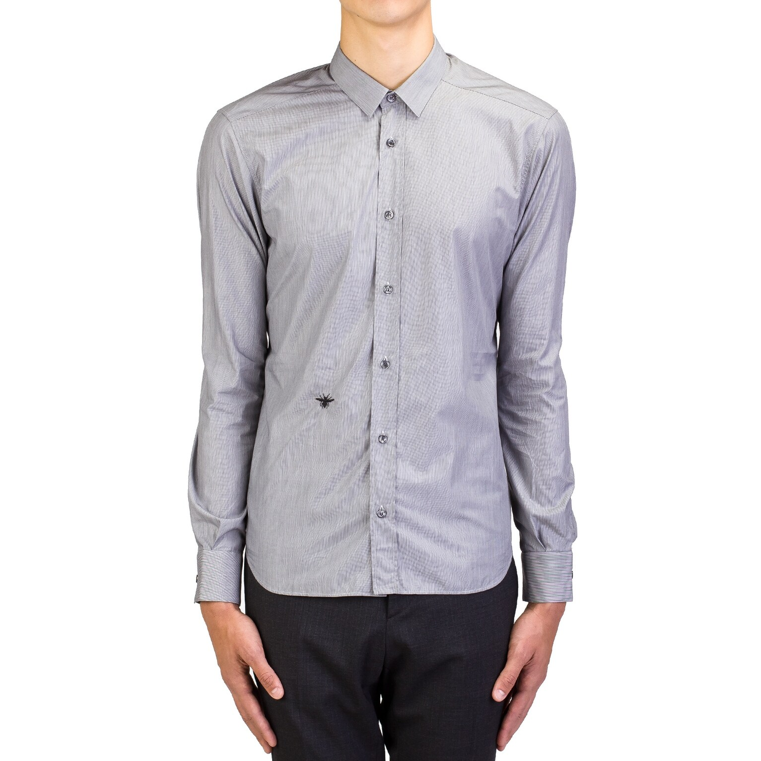 Shop Dior Homme Mens Bee Embroidered Cotton Dress Shirt Pinstriped
