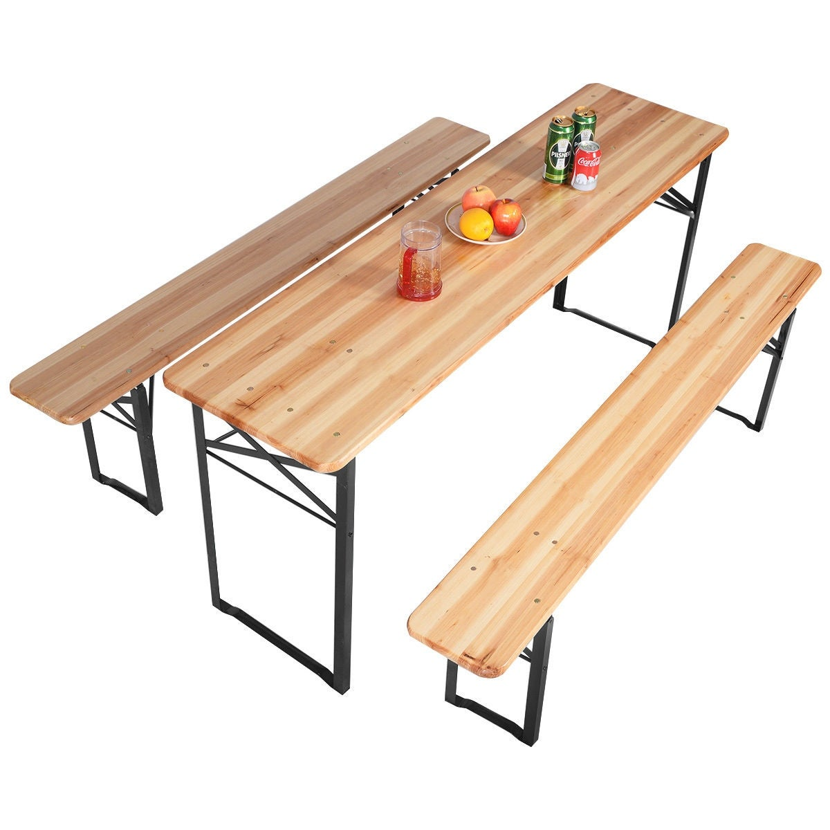 Costway 3 Pcs Beer Table Bench Set Folding Wooden Top Picnic Patio Garden On Free Shipping Today 15880944