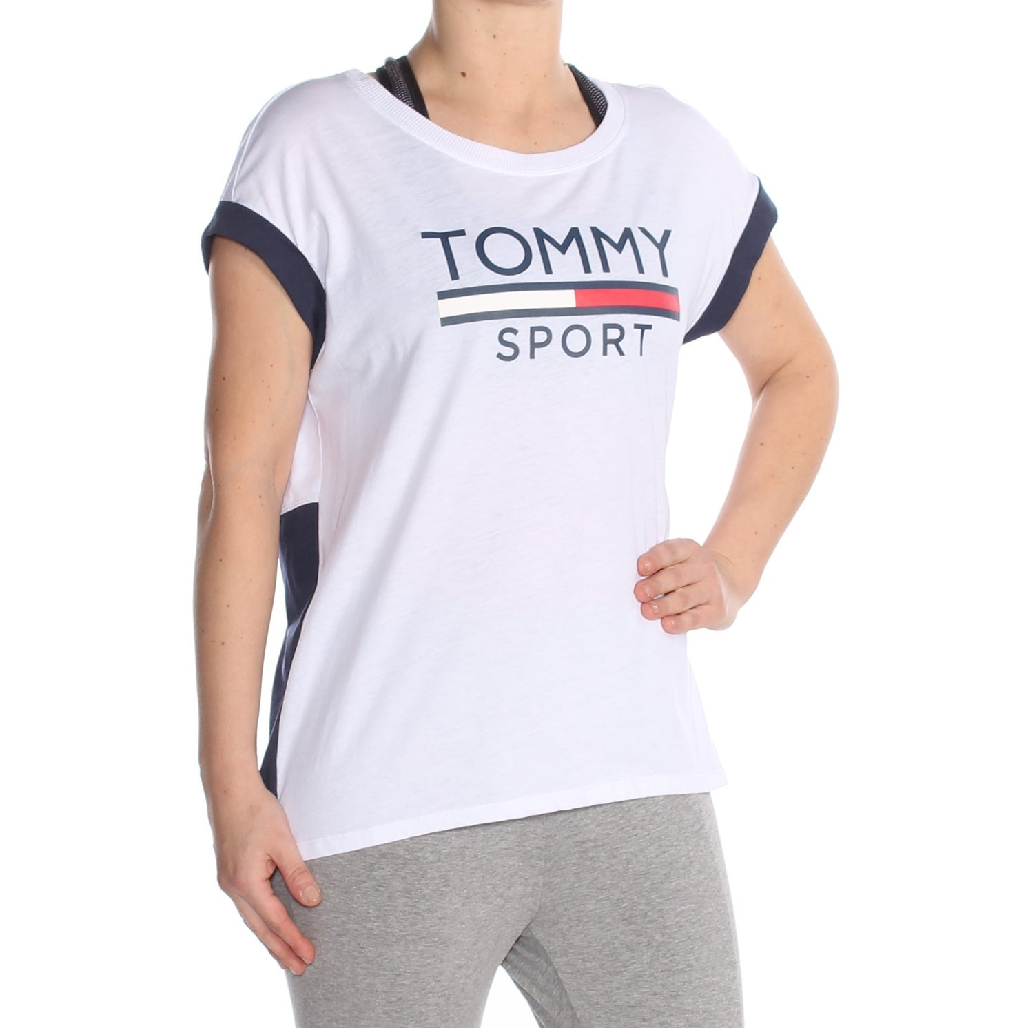 f77d5b92d Shop TOMMY HILFIGER Womens White Printed Logo Short Sleeve T-Shirt Top  Size: S - Free Shipping On Orders Over $45 - Overstock - 27987198