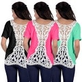 Fashion Women Summer Loose Top Short Sleeve Blouse Ladies Casual Tank Tops T-Shirt Lace