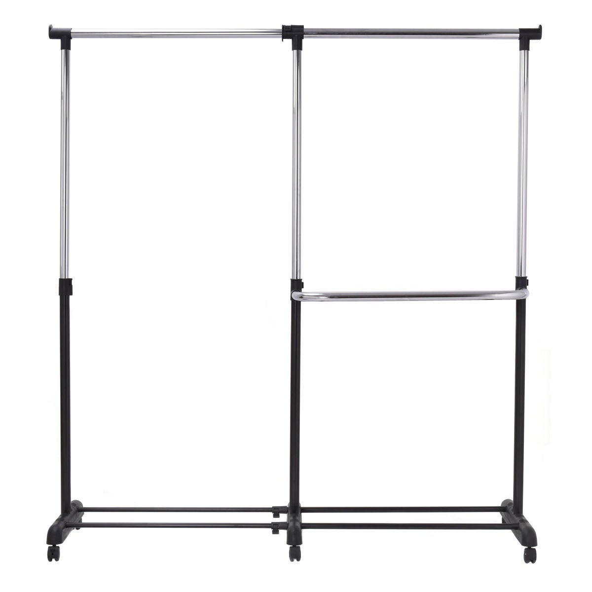 Shop costway adjustable heavy duty garment rack rolling clothes hanger extendable rail rack sliver free shipping on orders over 45 overstock com