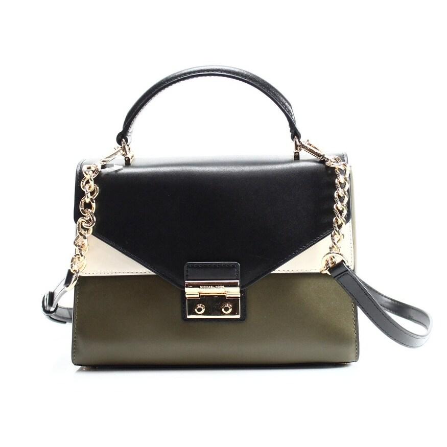 shop michael kors new green olive ecru leather sloan medium satchel rh overstock com