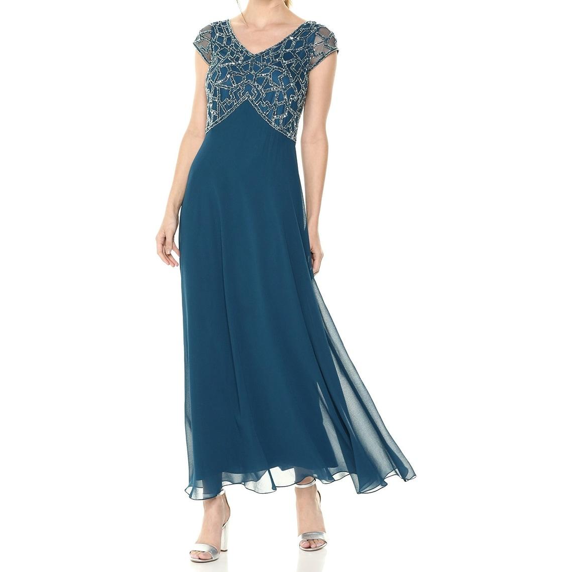 Shop J Kara Blue Teal Womens Size 12 Bead-Embellished Chiffon Gown ...