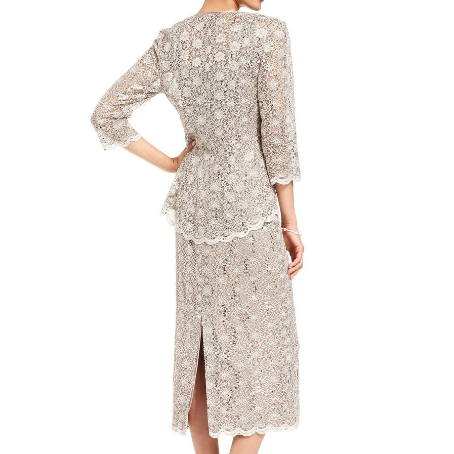 e8d46cd0 Shop R&M Richards Beige Gold Womens Size 16 Sequin Lace Sheath Dress Set -  Free Shipping Today - Overstock - 26986475