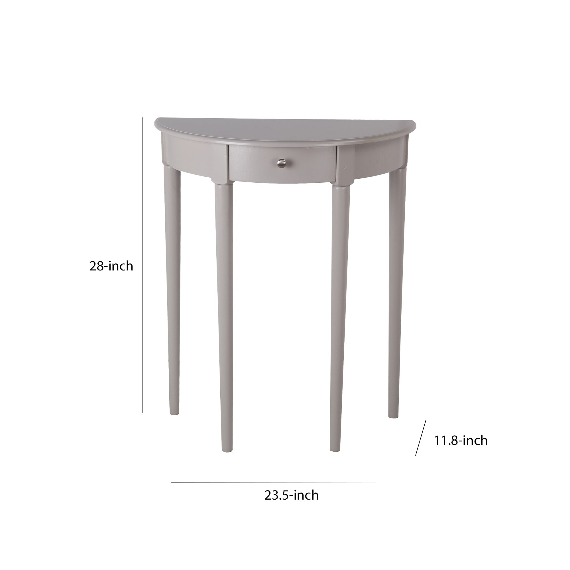 1 Drawer Half Moon Console Table With Round Legs Small Gray Overstock 31291905