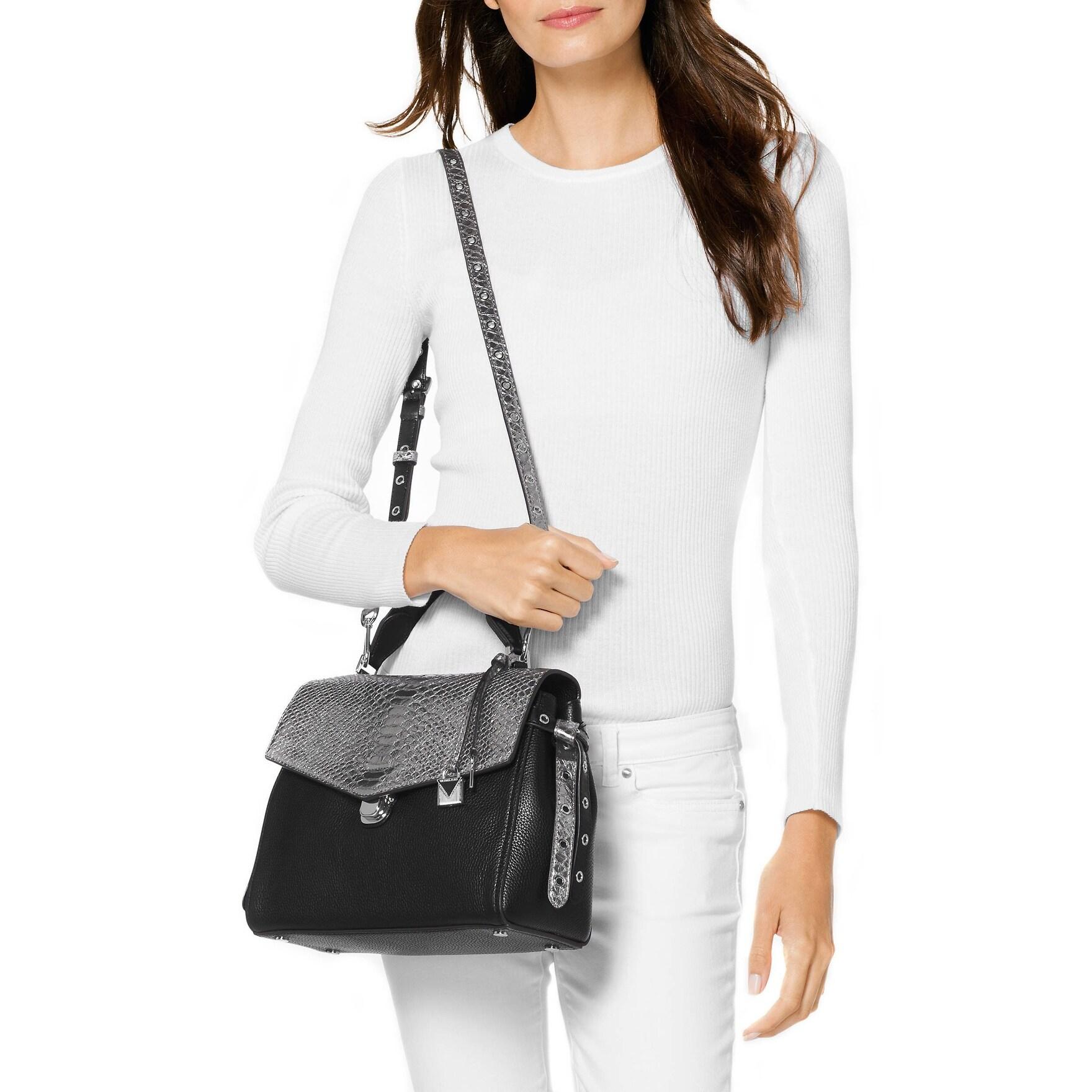 e363a6673de591 Shop Michael Kors Black Pewter Bristol Metallic Satchel Leather Handbag -  Free Shipping Today - Overstock - 22023240
