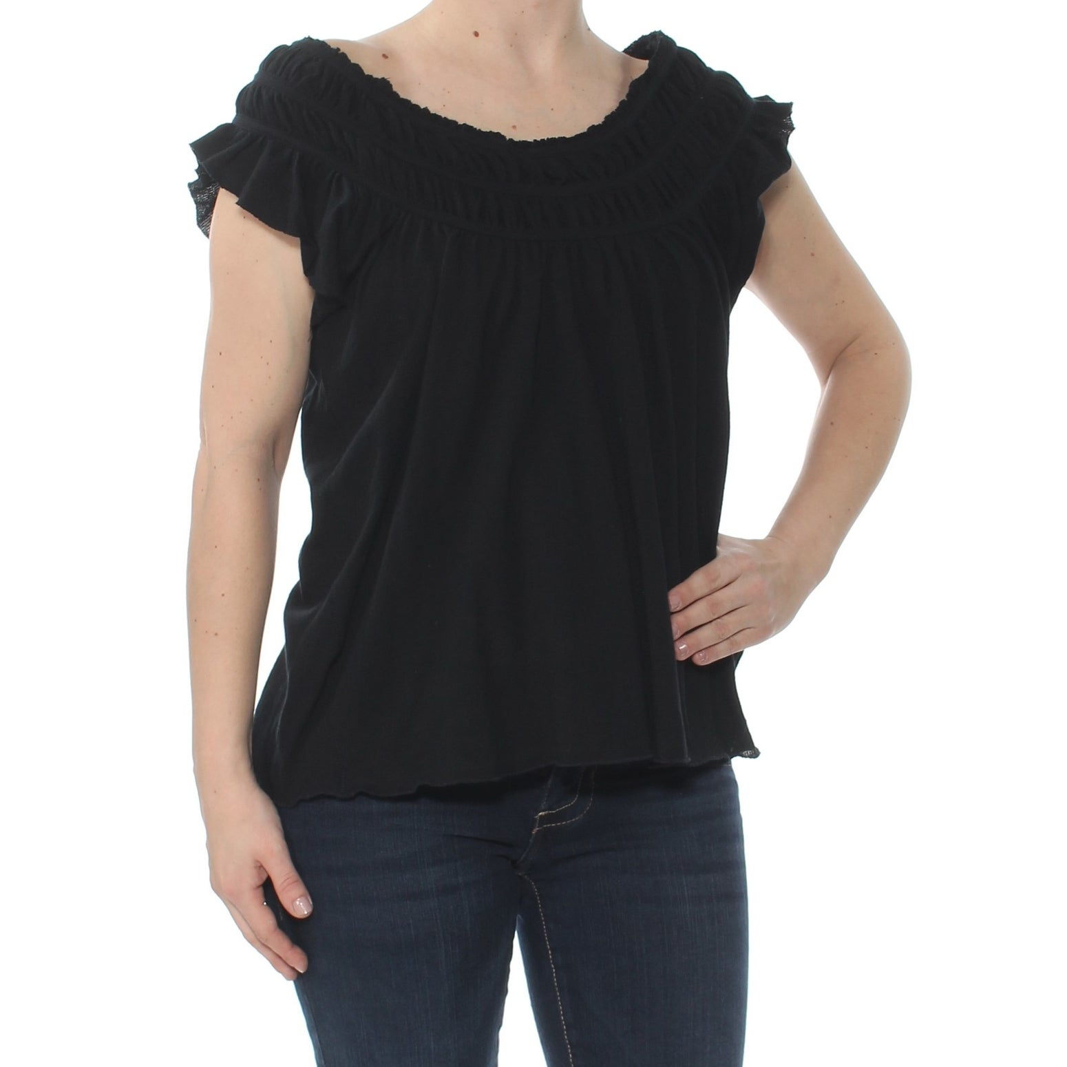 30a78f5ed61096 Shop FREE PEOPLE Womens Black Coconut Short Sleeve Scoop Neck Top Size: S -  Free Shipping On Orders Over $45 - Overstock - 27970158