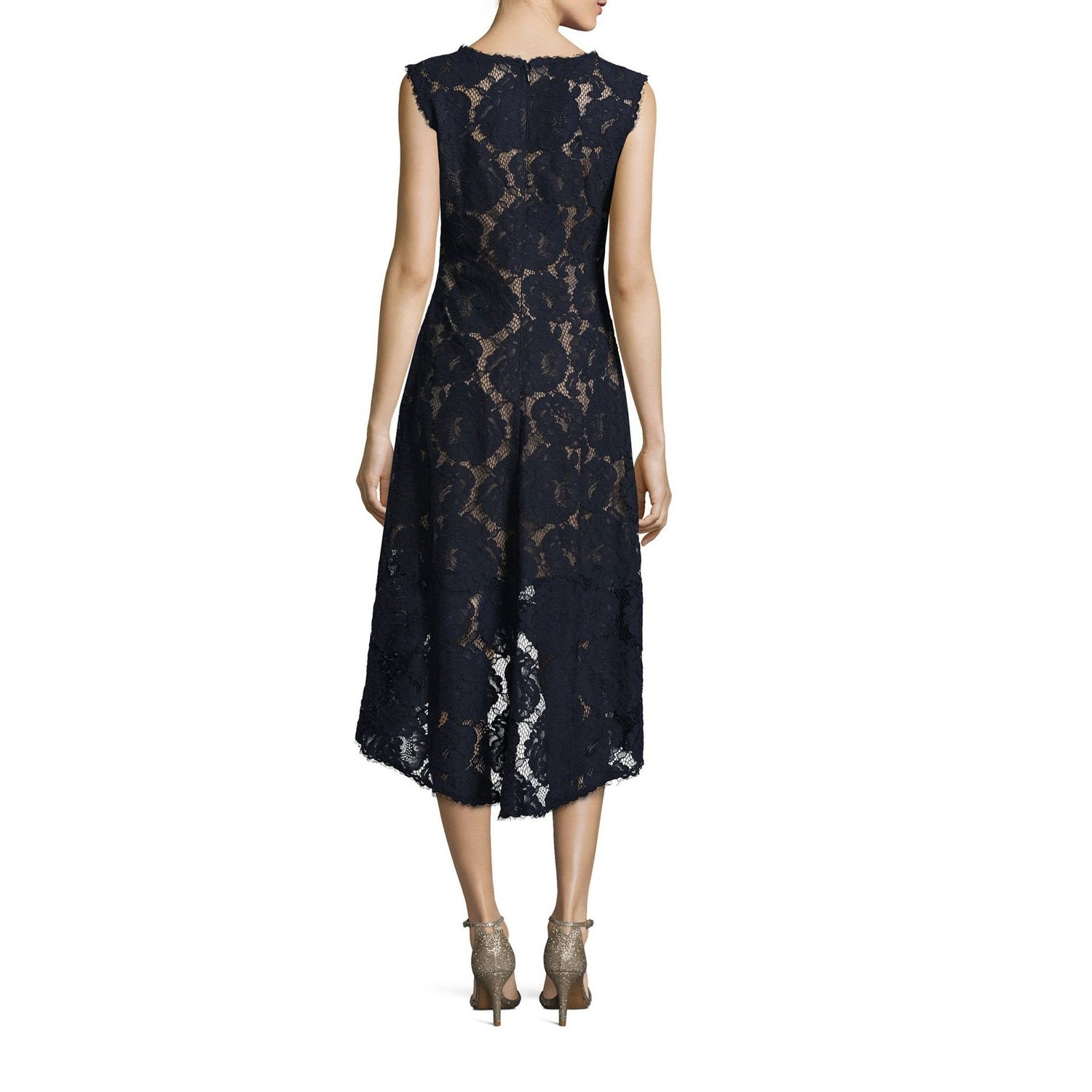 3be25d12f7 Shop Tadashi Shoji High Low V-Neck Lace Cocktail Dress Navy - Free Shipping  Today - Overstock - 25773180