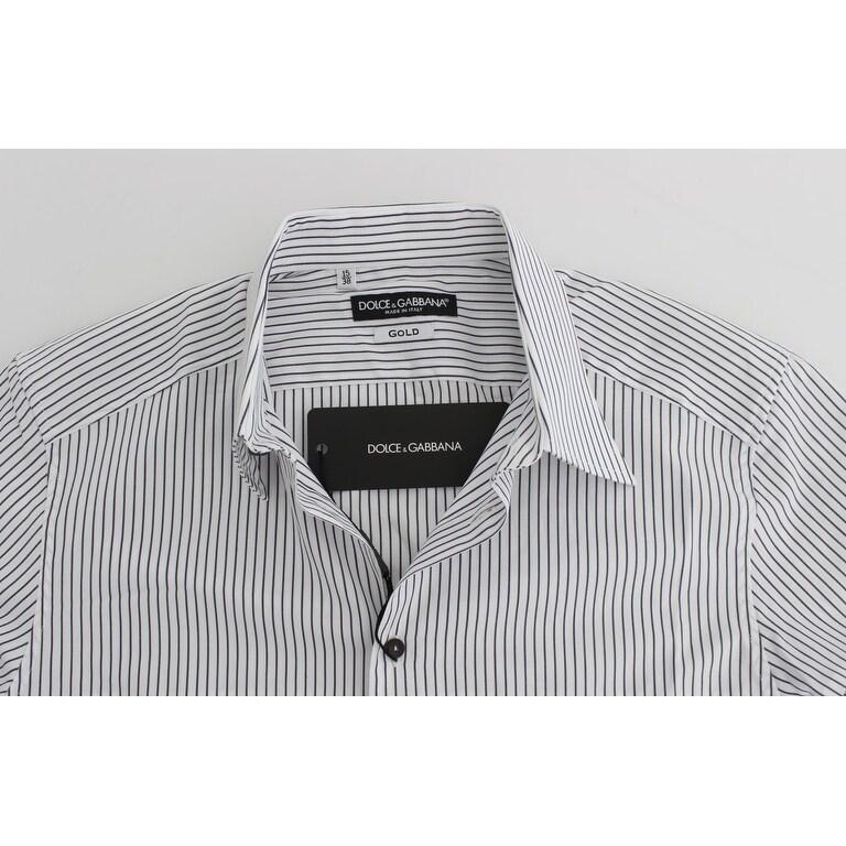 294514dd Shop Dolce & Gabbana Dolce & Gabbana White Blue Striped Cotton Slim GOLD  Shirt - 38 - Free Shipping Today - Overstock - 21411881