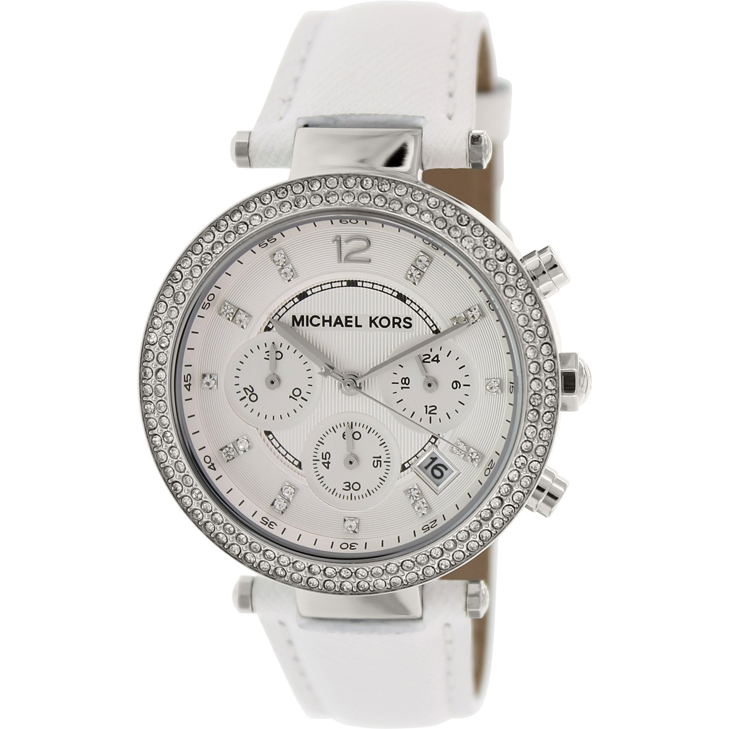 be762af04951 Shop Michael Kors Women s Parker White Leather Quartz Fashion Watch - Free  Shipping Today - Overstock - 18794345