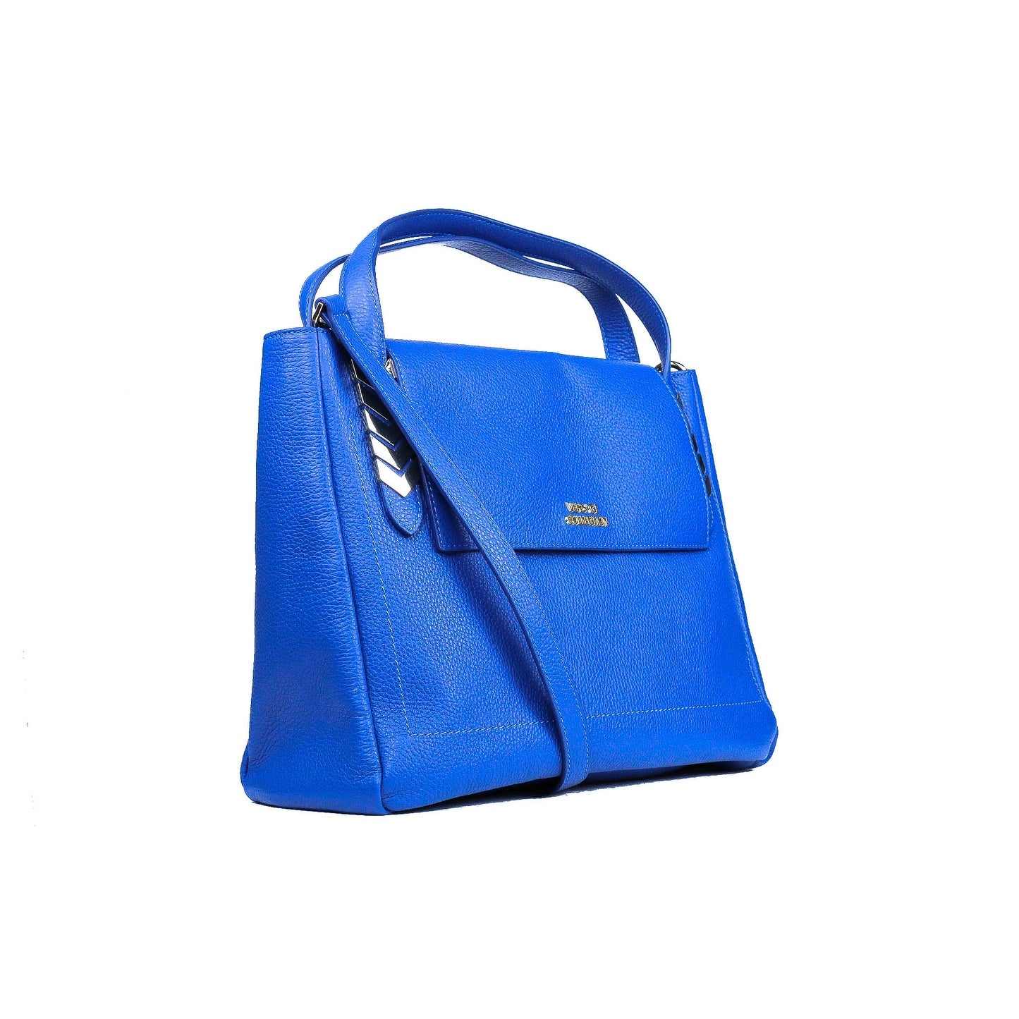 Shop Versace Collection Solid Blue Large Pebbled Leather Arrow Shoulder Bag  - Free Shipping Today - Overstock.com - 21935822 415b958a6a