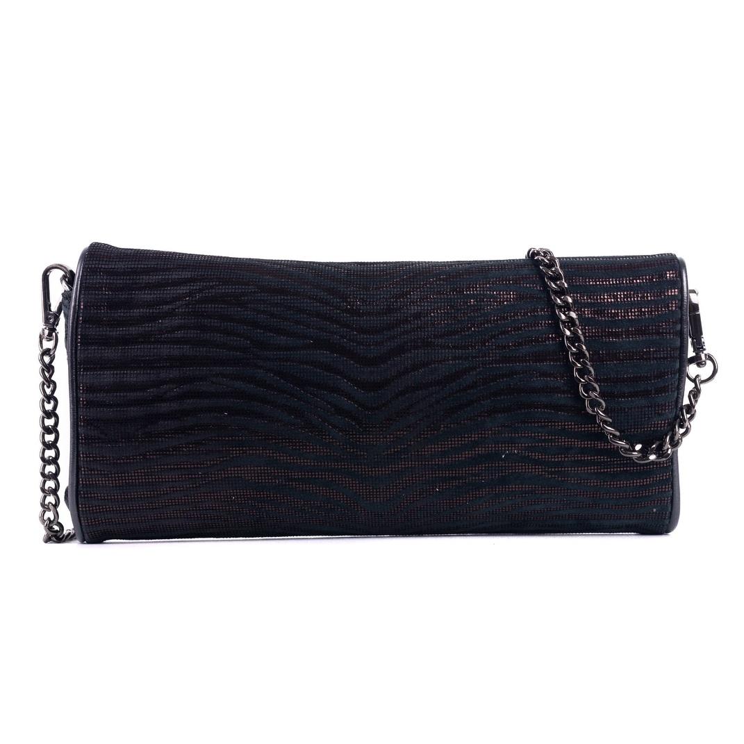 Roberto Cavalli Black Metallic Zebra Print Studded Clutch Shoulder Bag KElfyF