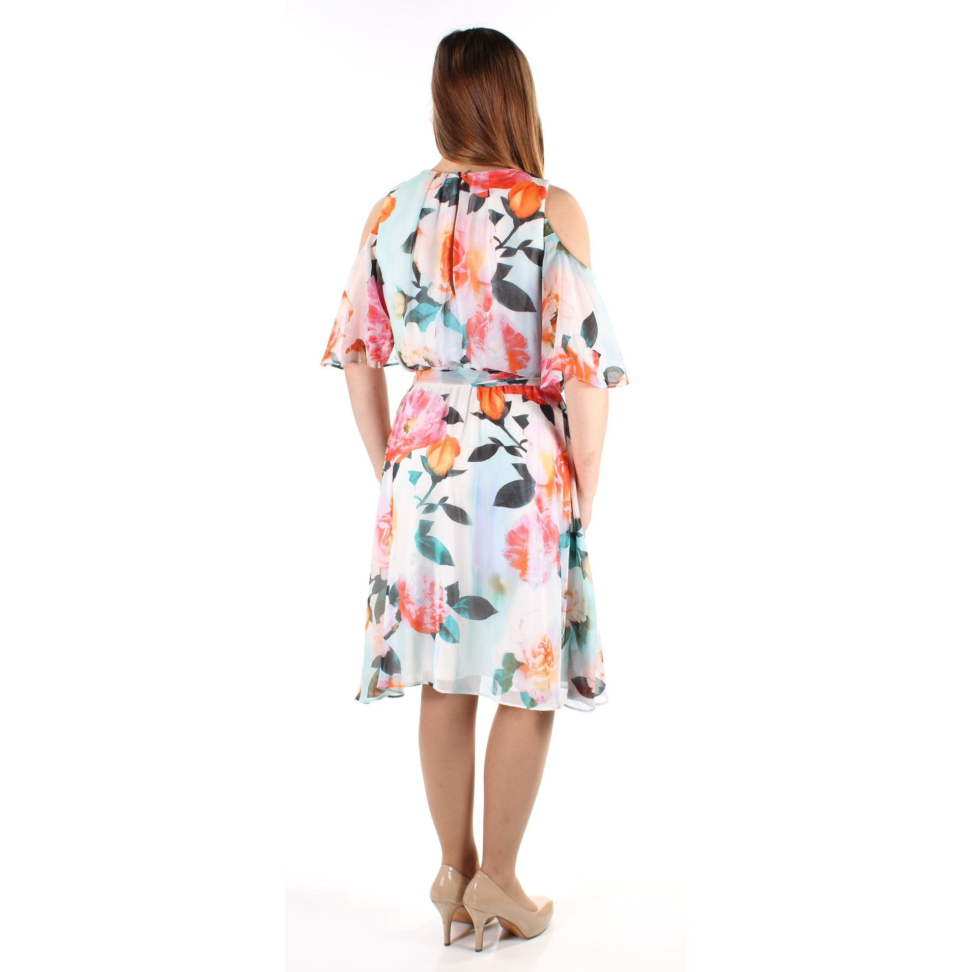 93341936 Shop CALVIN KLEIN Womens White Cold Shoulder Floral Short Sleeve Jewel Neck  Below The Knee Sheath Wedding Dress Size: 8 - Free Shipping On Orders Over  $45 ...