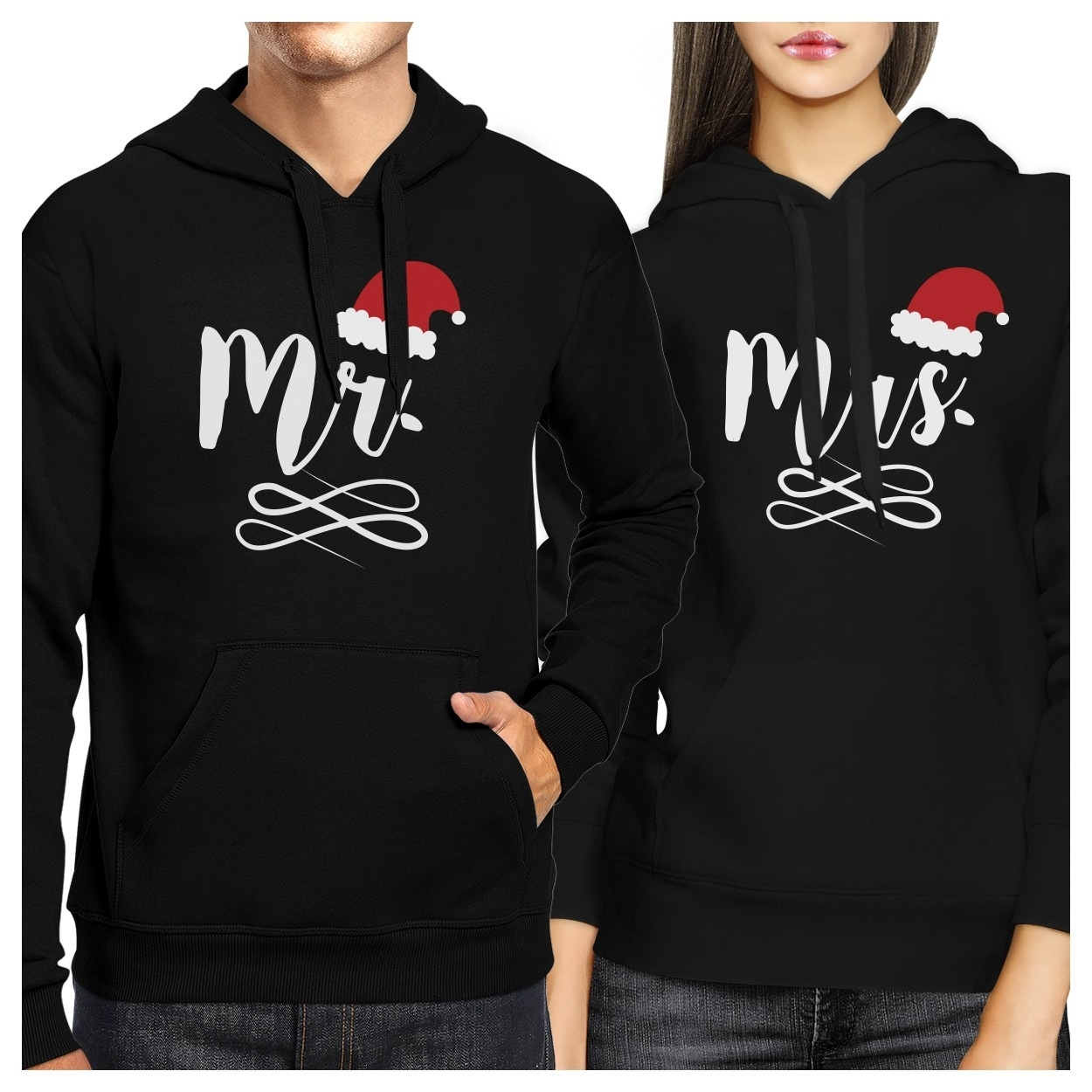 Shop Mr And Mrs Christmas Hat Couple Hoodies Cute Christmas Gifts ...