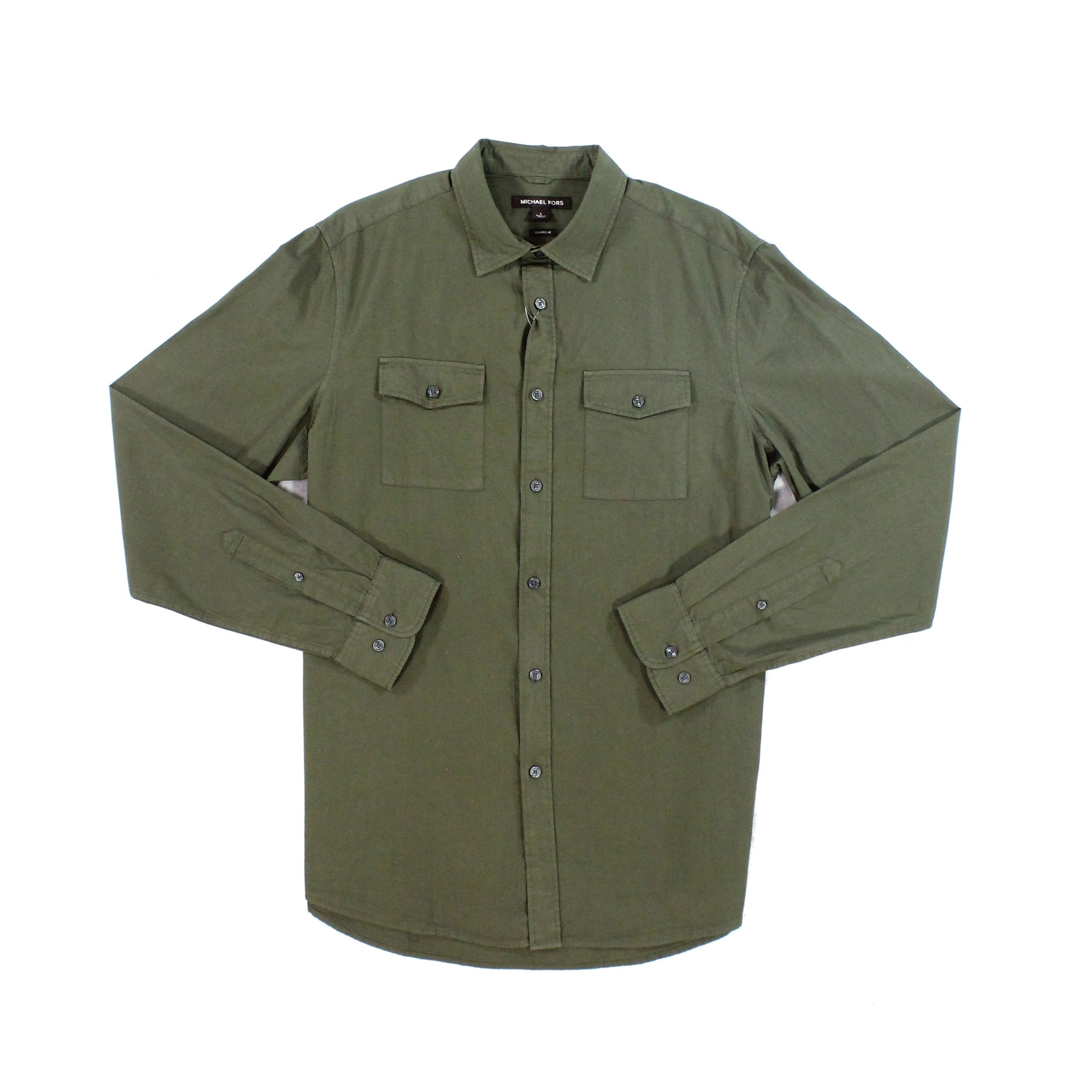 Michael Kors NEW Olive Green Mens Size L Button Down Shirt