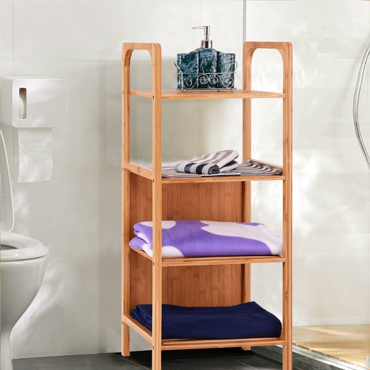 Shop Costway 4 Tier Bamboo Bathroom Shelf Storage Unit Tower Rack ...