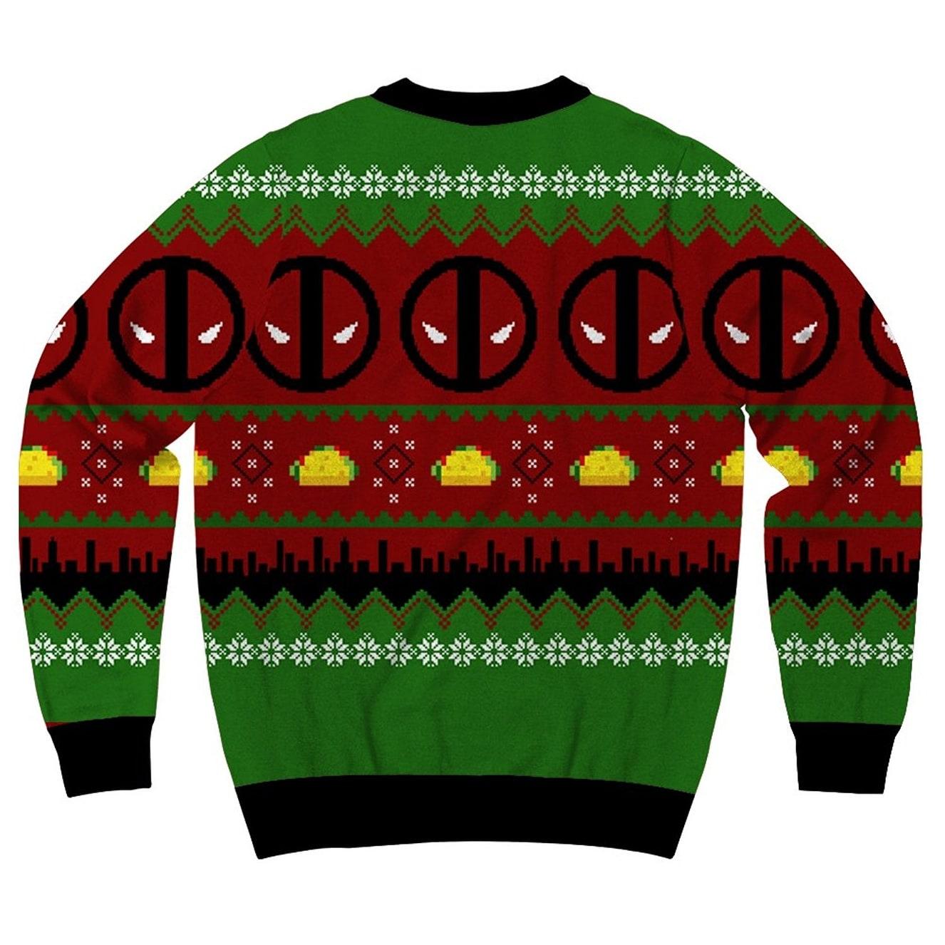 shop marvel comics deadpool navidad 2 mens ugly christmas sweater free shipping on orders over 45 overstockcom 18690192
