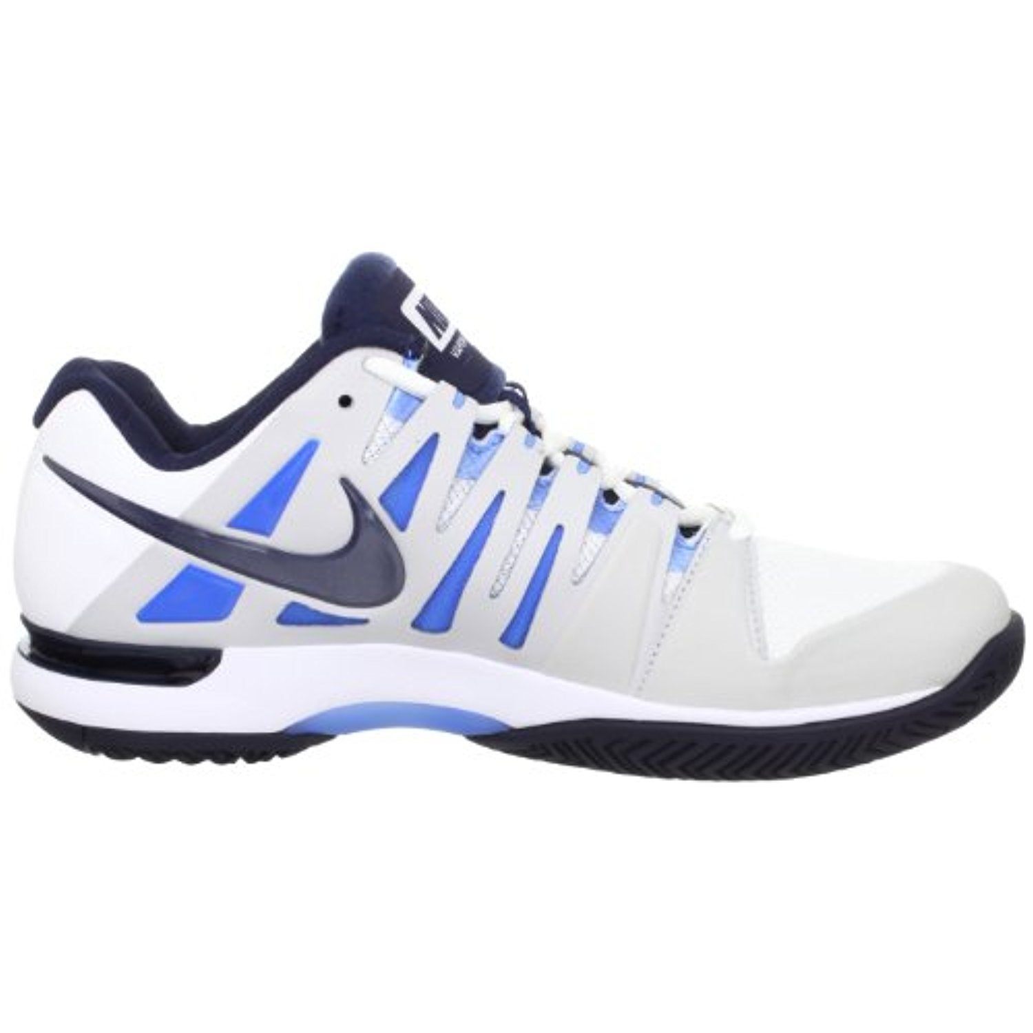 f3b73e5ecf64 Shop Nike Zoom Vapor 9 Tour White Blue Federer Mens Tennis Shoes 488000-144   US size 12  - Free Shipping Today - Overstock - 18279691