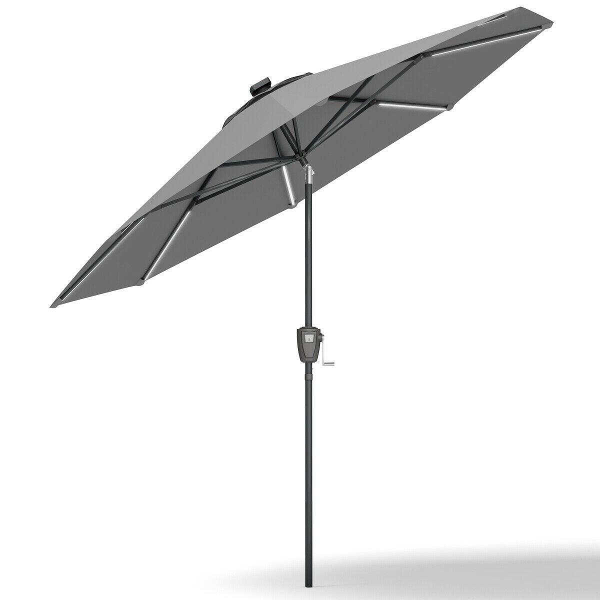 ece66b3b440c8a Shop Gymax 9 FT Patio Waterproof Solar Umbrella LED Light Tilt Gray - Free  Shipping Today - Overstock - 26438153