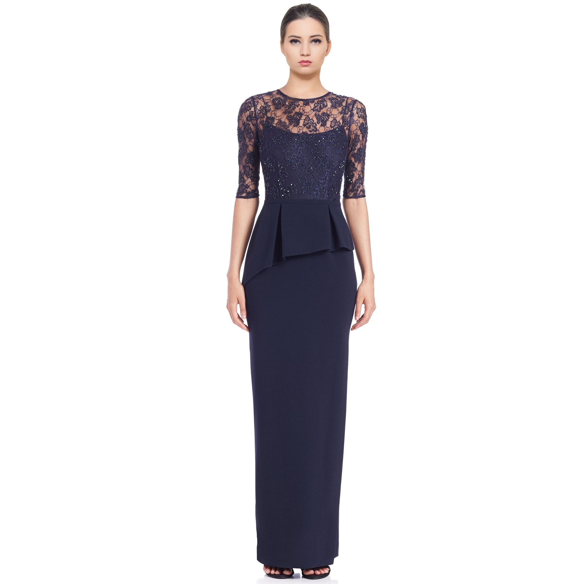 Shop Teri Jon Embellished Lace Peplum Column Evening Gown Dress ...