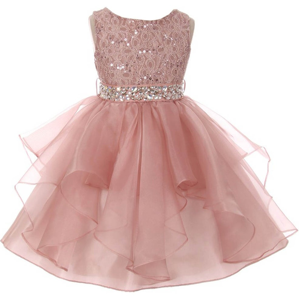 Shop Flower Girl Dress Sequin Lace Top Ruffle Skirt Blush MBK 357 ...