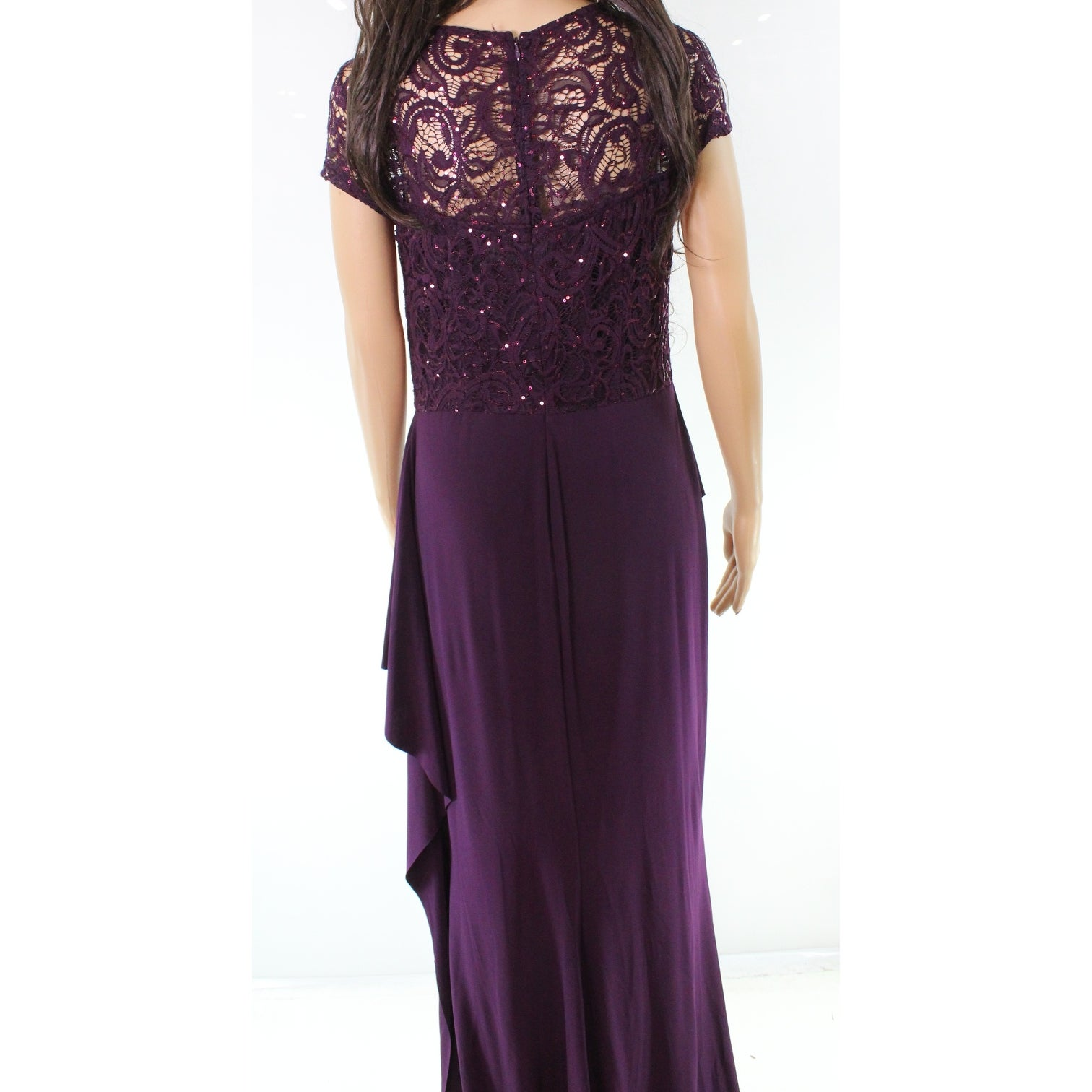 ceb7d91147 Shop Marina Ruffled Sequin Lace Women s Gown Draped Dress - On Sale ...