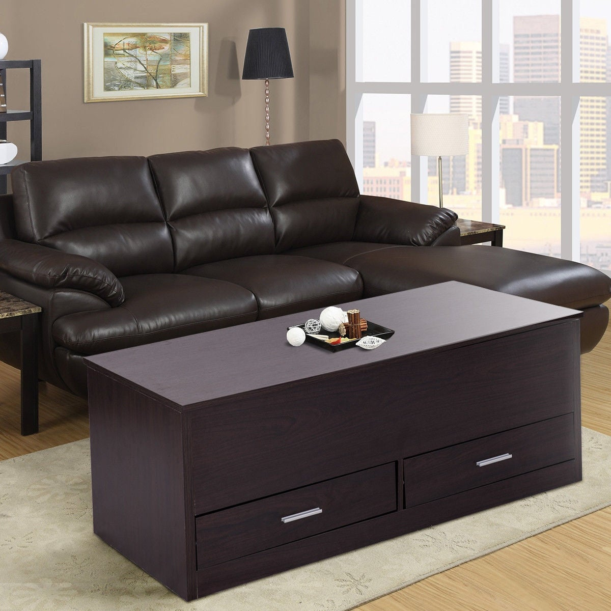 Costway Slide Top Coffee Table W Hidden Compartment And 2 Drawers Living Room Furniture Espresso Free Shipping Today 20489046