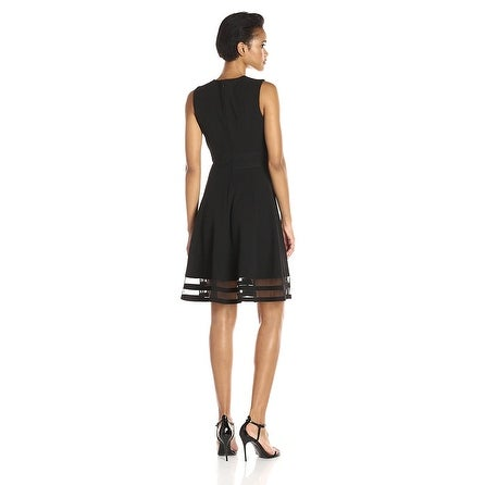 07268579a8c Shop Calvin Klein Round Neck Sleeveless Illusion Hem Crepe Fit Flare Dress  Black 4 - Free Shipping Today - Overstock - 18085053