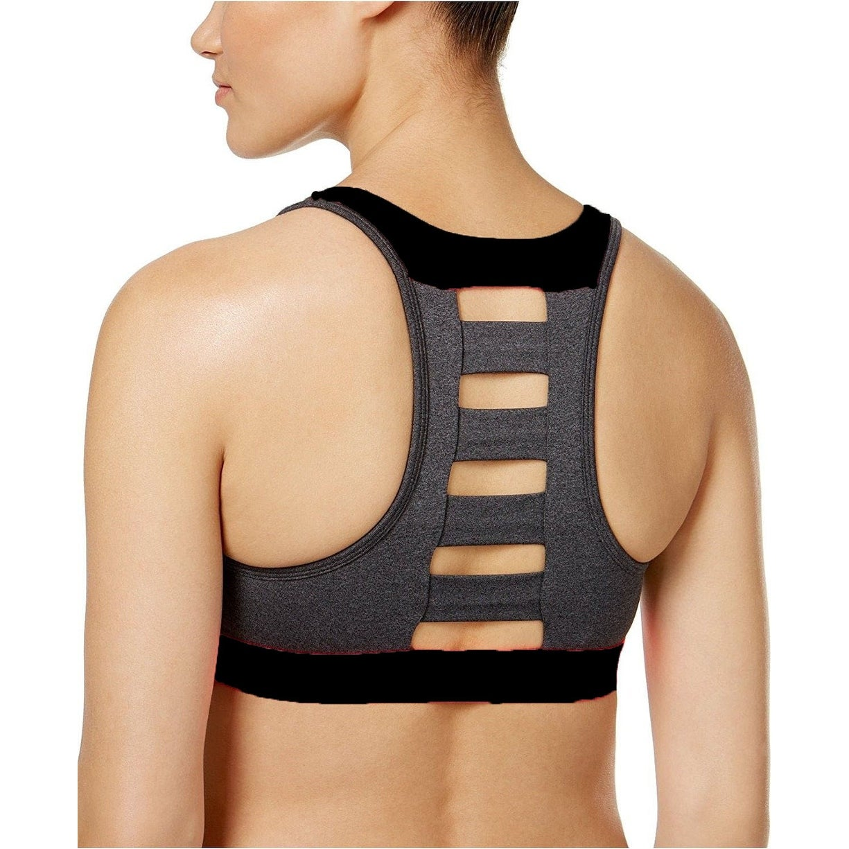 35d590919f959 Shop Ideology Women s Ladder Back Medium Impact Sports Bra Noir Grey Small  - s (4 - 6) - Free Shipping On Orders Over  45 - Overstock.com - 23075617
