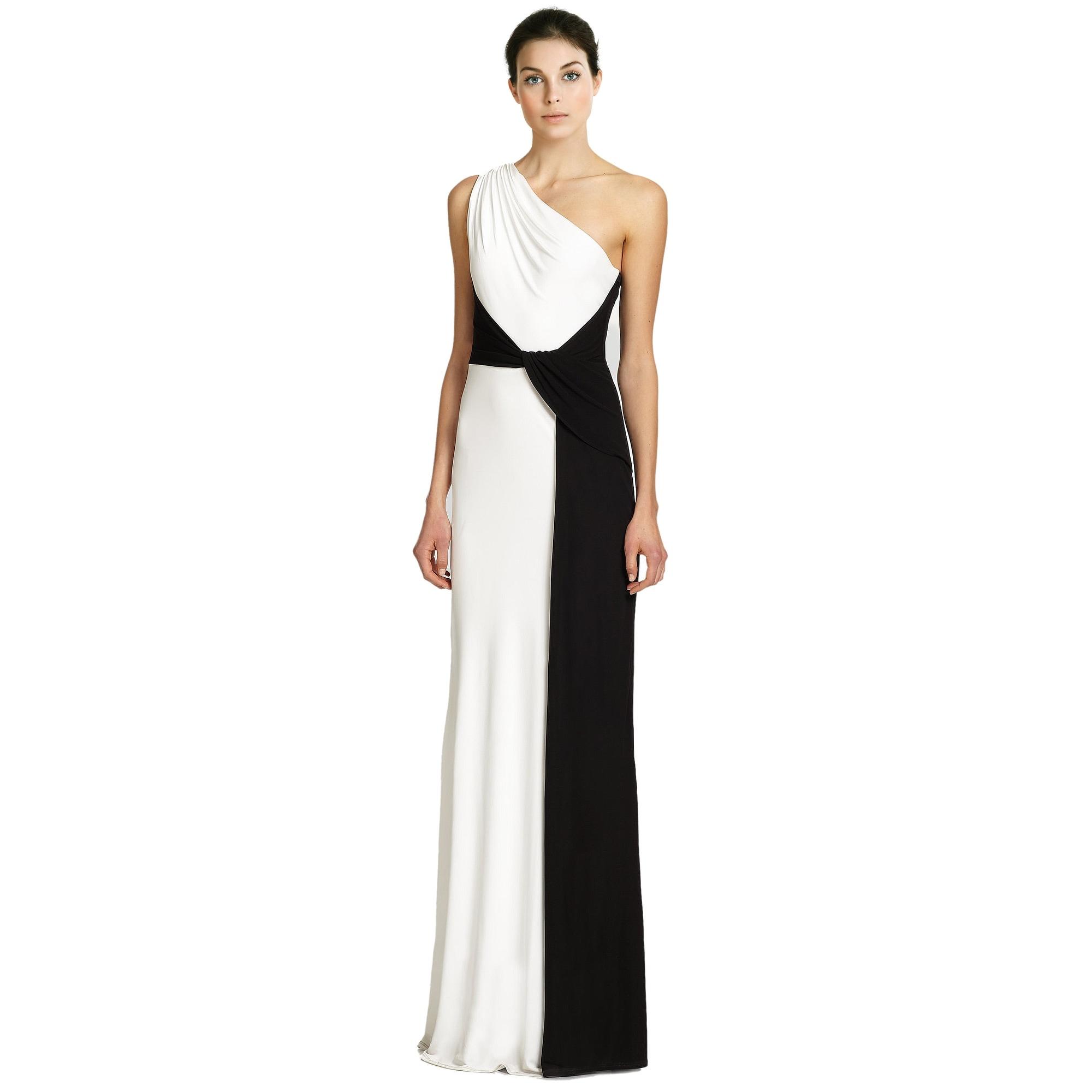Shop David Meister Colorblock Sleeveless Draped Jersey Evening Gown ...