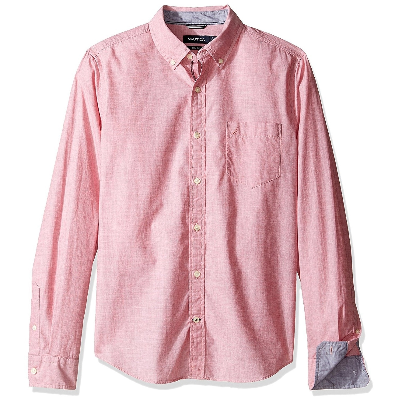 Shop Nautica New Rose Coral Pink Mens Size Xl Slim Fit Button Down