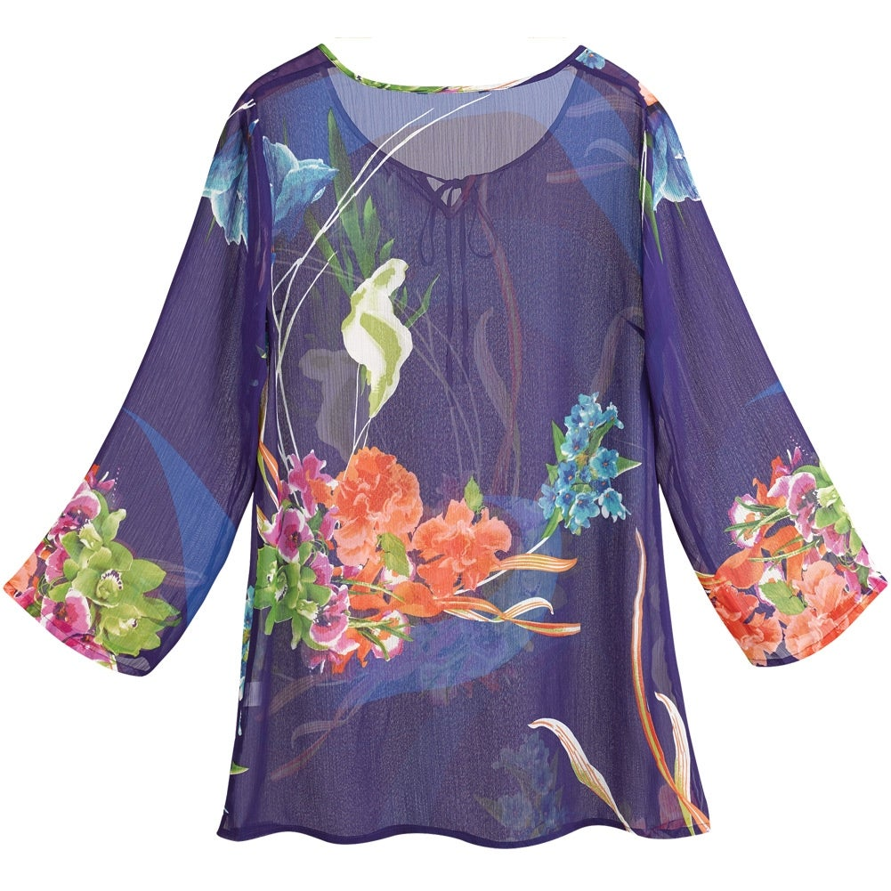de88caf48e4 Shop Women's Tunic Top - Floral Print Navy Blue 3/4 Sleeve Shirt - Free  Shipping On Orders Over $45 - Overstock - 15812866