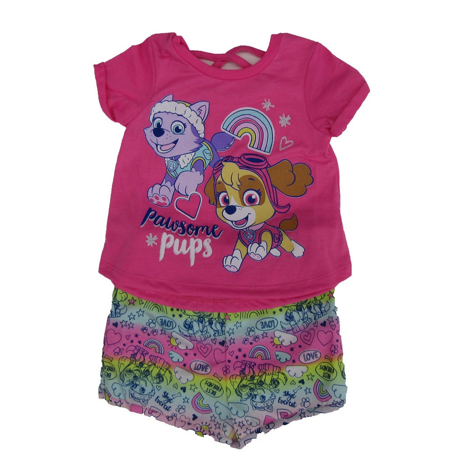 8602b70178951 Shop Nickelodeon Little Girls Pink Paw Patrol Print T-Shirt 2 Pc Shorts  Outfit - Free Shipping On Orders Over $45 - Overstock - 27212090
